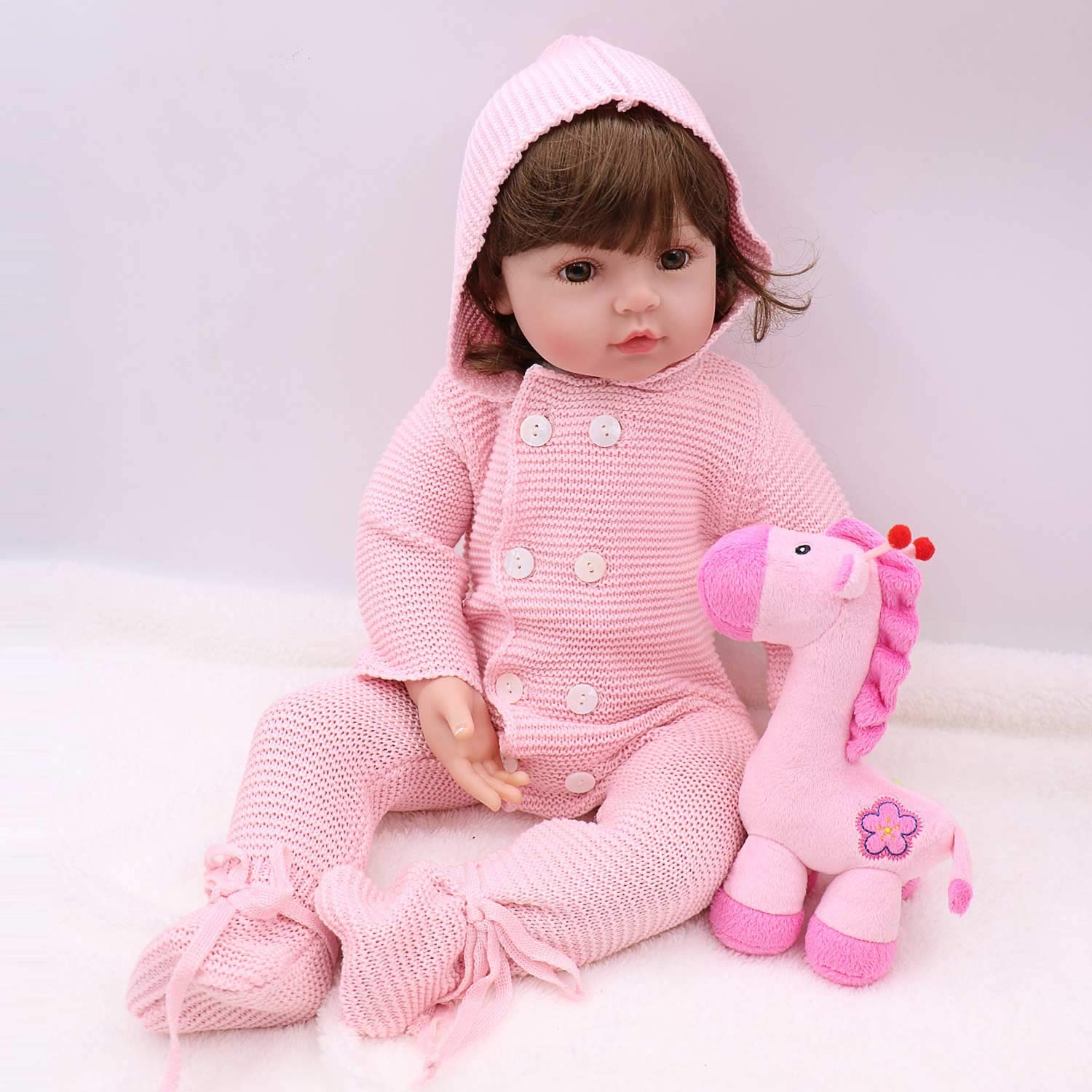PURSUEBABY Pursue Baby Doll Adorable Real Life Reborn Toddlers Grils with Curly Hair Autumn, 24 Inch Soft Body Reborn Baby Toddler Gift for Christmas