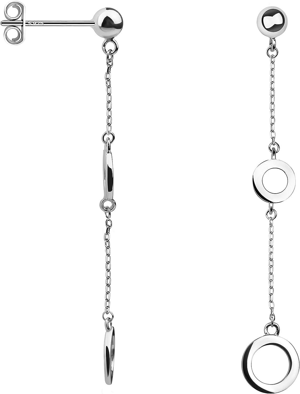 Sofia Milani 20672 - Pendientes para mujer, diseño de círculo, color plateado