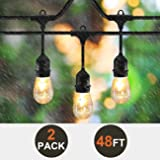 SUNTHIN 2-Pack 48ft LED String of Lights with 15 x E26 Sockets and Hanging Loops, 18 x 0.9 Watt S14 Bulbs (3 Spares) -Indoor/Outdoor string lights, Commercial String Lights, Light Strings