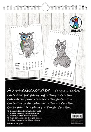 Calendario Din A4.Ursus 24900000 Colouring Calendar A4 Tangle 12 Sheets