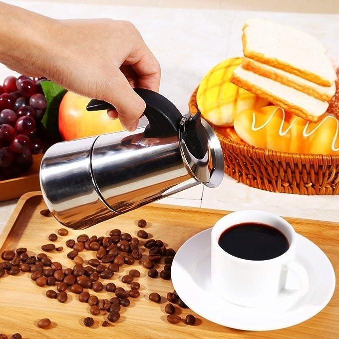 Modelo Italiano HF Kitchen Cafetera Espresso 2 Tazas Plata Acero Inoxidable