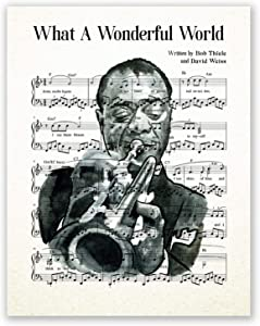 Louis Armstrong Poster // Jazz Music Sheet Wall Art Portrait // Home Decor Print // Black and White Artwork // Jazz Legend // Picture (8x10)