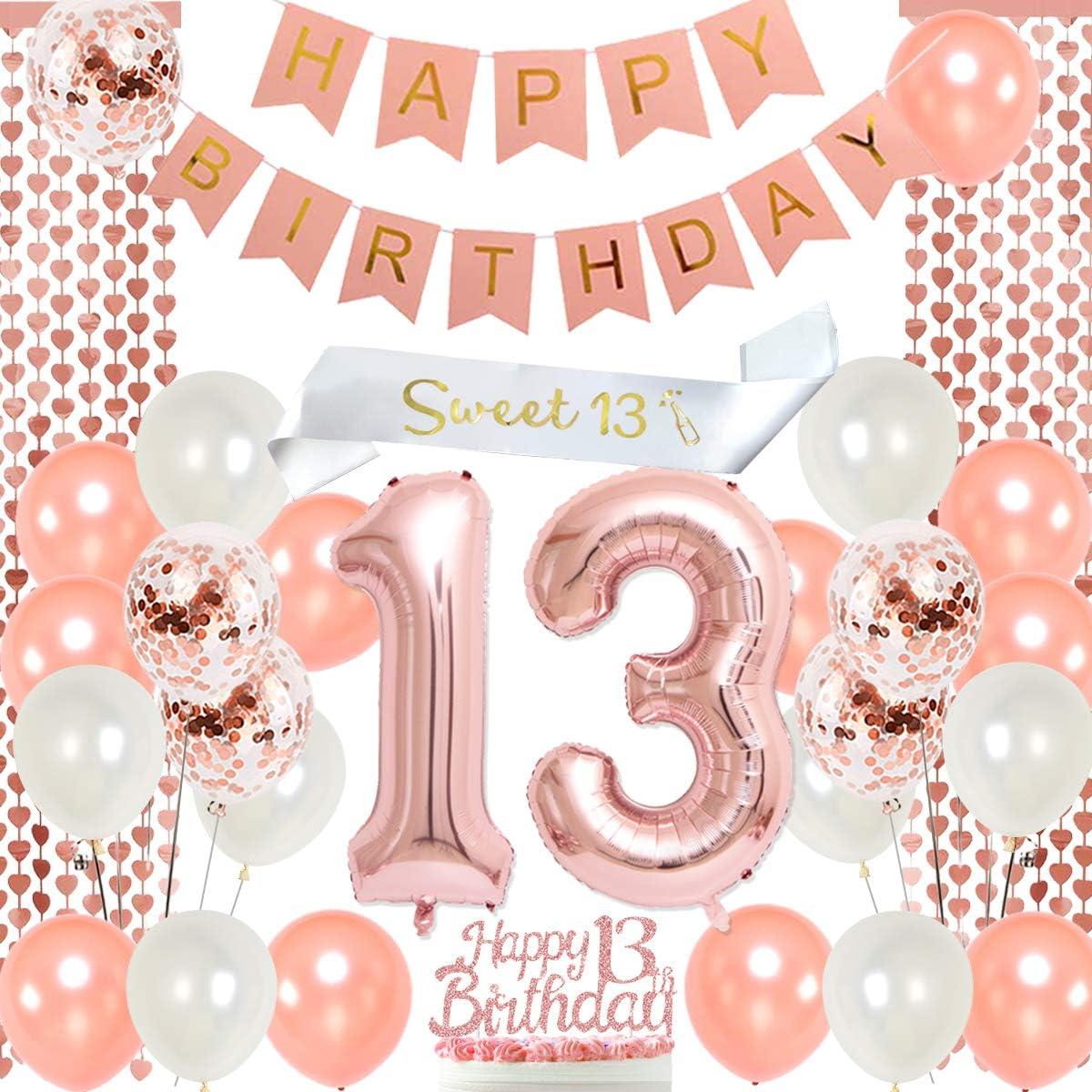 Meuparty 13 Jährige Geburtstagsfeierdekorationen Rotgold Weiß Süße 13 Schärpe Geburtstag Hängende Banner Cake Topper Nummer 13 Folienballons Küche Haushalt