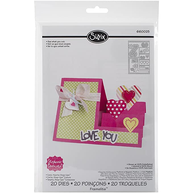 Sizzix 660025 Hearts Step-Up Card Framelits Dies by Stephanie Barnard, 20-Pack