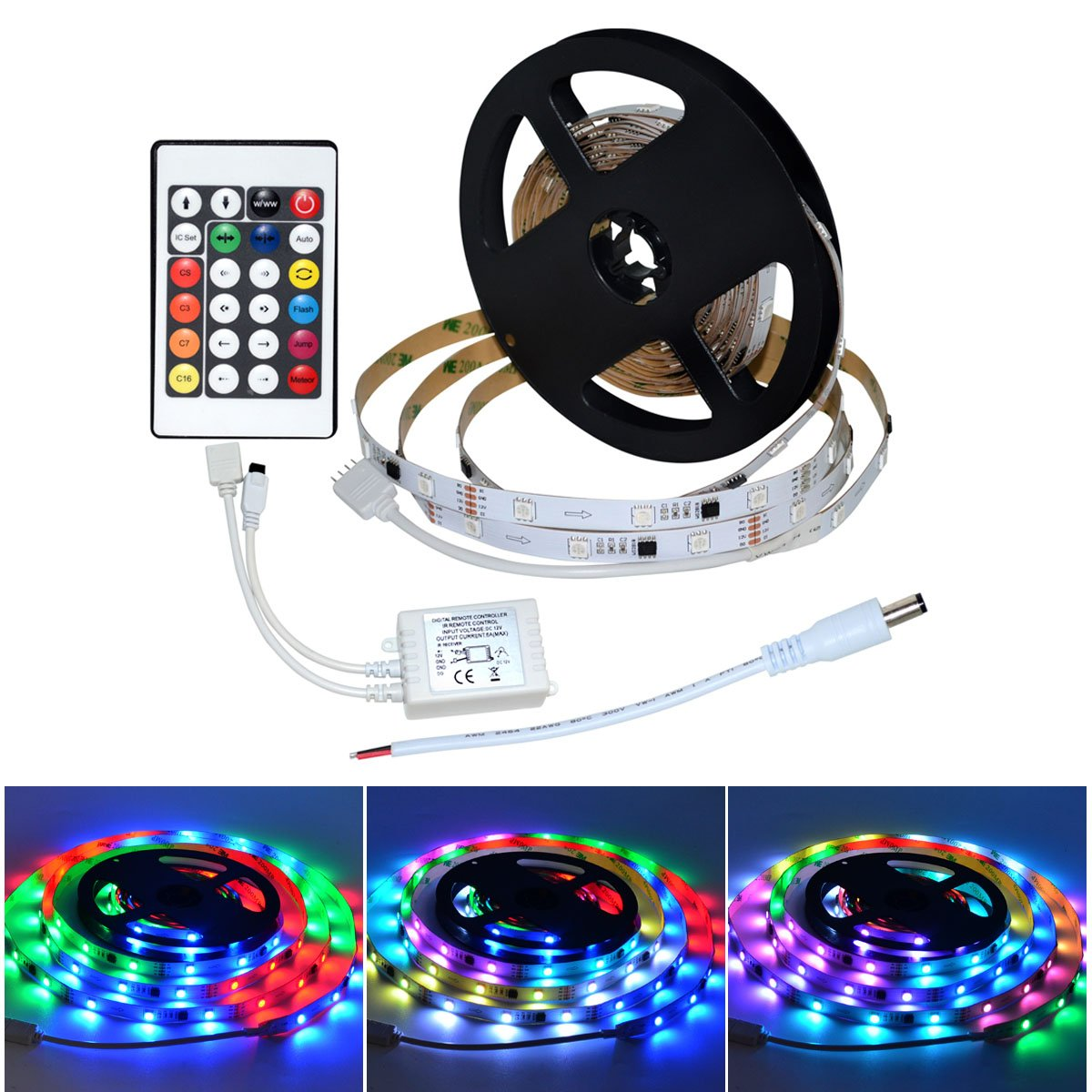 WS2818B RGB Dream Magic Color SMD 5050 150LEDs 16.4FT 5M WaterProof LED Strip Light Kit + RF 24 Key Controller with Jump,Color-Chase,Flash,and Auto,Meteor are Adjustable (IP20)