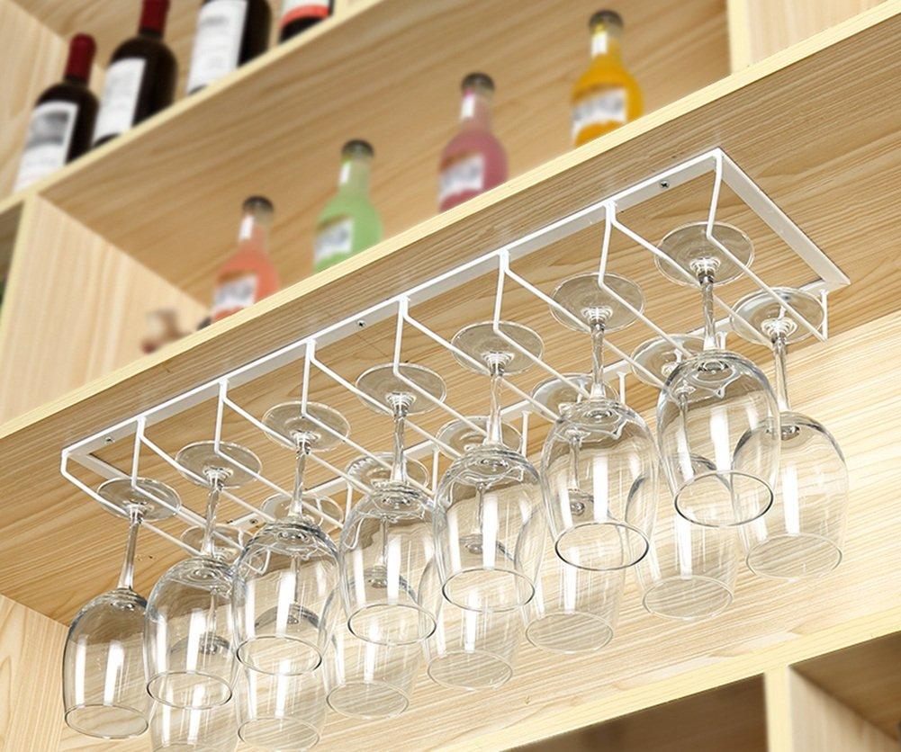 LYYHJJ LYYHJJ LYYHJJ ZHDC® Estante de Vino Boca Abajo Estante de Vidrio de Vino Estante de Vino Colgante de casa Creatividad Arte de Hierro Porta Copa Alto Multifunction (Color : Blanco, Tamaño : 50   20cm) 135864