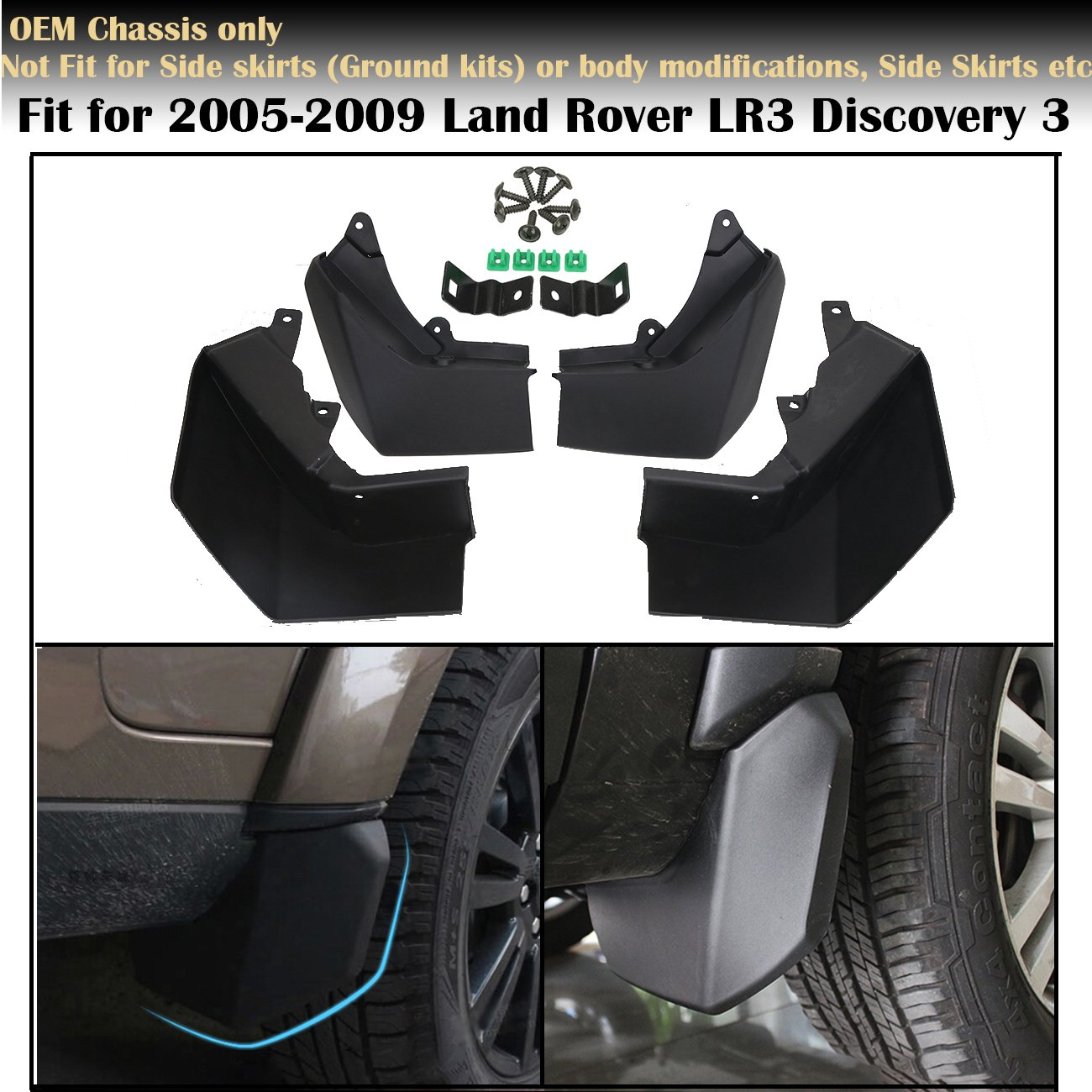 modellata paraspruzzi 4pcs anteriore posteriore parafango parafanghi Discovery 3 LR3, per 2005 - 2009 Discovery 3 LR3 Fit for 2005-2009 Land Rover LR3 Discovery 3 OEM Chassis only Not Compatible with Side skirts (Ground kits) or body modifications