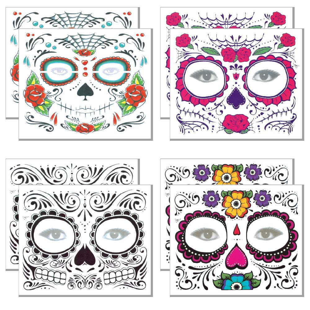 Day of the Dead Tattoo(8 PACK) Halloween Makeup Tattoos Decor Stickers Sugar Skull Temporary Face Tattoo for Halloween Masquerade Party(Floral, Glitter Roses, Web and Floral Skeleton)