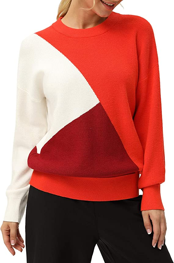 80s Sweatshirts and Sweaters GRACE KARIN Womens Loose Fit Color Block Knit Sweaters Long Sleeve Pullovers $22.99 AT vintagedancer.com