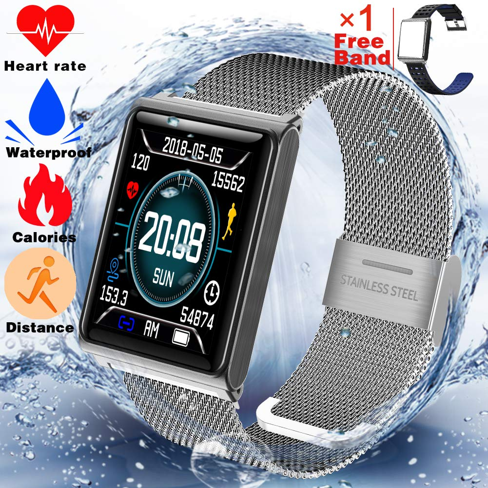 Fitness Tracker Waterproof IP67 with Heart Rate Monitor Smart Watch for Women Men Kids Outdoor Sports Bluetooth Bracelet with Sleep Monitor Calories Tracker Pedometer Watch Sync Phone for Android iOS