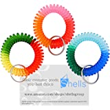 Shells 3Pack Colorful Bright Assorted Pearlized Gradual Changing Colors Plastic Spiral Coil Wrist Band Key Ring Chain