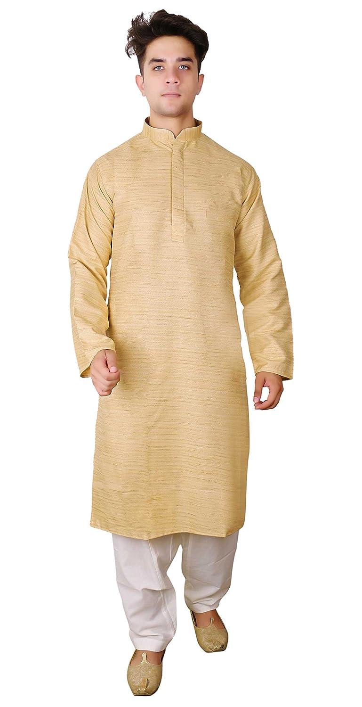 4a8fc9fc4c Amazon.com: Mens Indian Raw Silk Kurta salwar kameez sherwani Bollywood  wedding costume 1809: Clothing