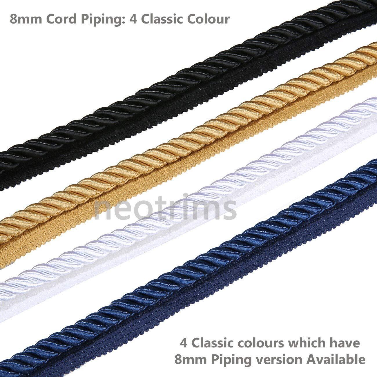 6mm Silky Barley Twist Cord /& 16mm Flanged Insertion Piping Upholstery Crafts Trimming 36 Colors Durable /& Versatile Neotrims High Strength