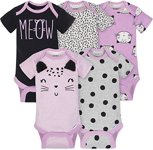 New Carter/'s Baby Girls 4-Pack Layette Printed Body Suits Onsies Newborn 3 6 9