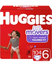 Huggies Little Movers Diapers, Size 6 (35+ lb.), 104 Ct, Economy Plus Pack (Packaging May Vary)