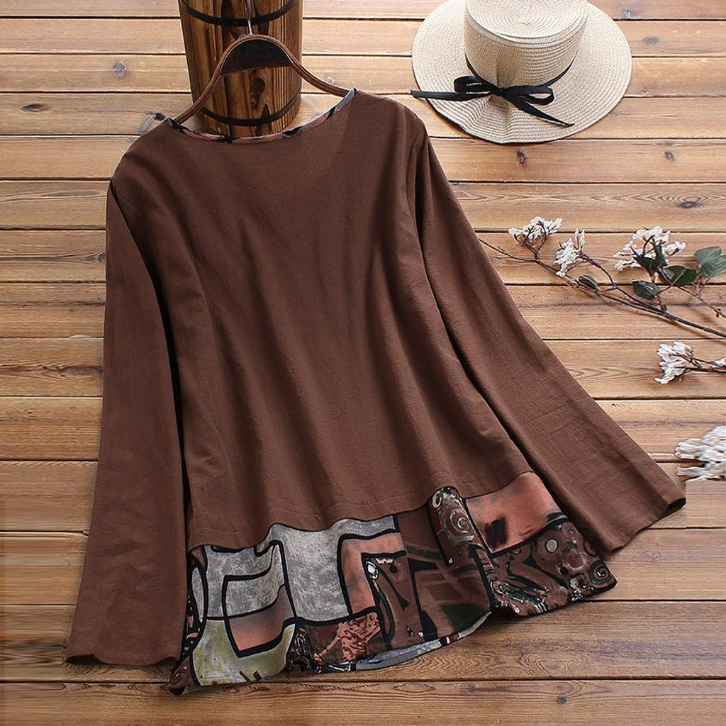 EDC Pullover Tunic Tops for Women Cotton Linen Long Sleeve Crewneck Blouse Shirts T Shirt Plus Size .M-5XL