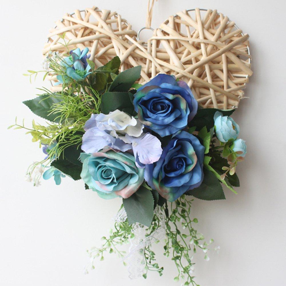 Heart Rattan Wreath Blue Rose Floral Wreath Front Door Wreath Summer Spring Vintage Wreath