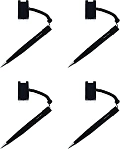 Secure Counter Pen With Adhesive Base & Plastic Coil - Black Ink - Medium Point (4 Pack)