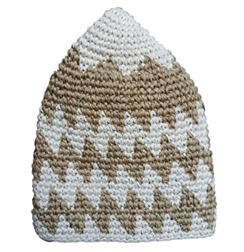 Large 23 Hand Crocheted Faded Light Brown Cream Zigzag Design