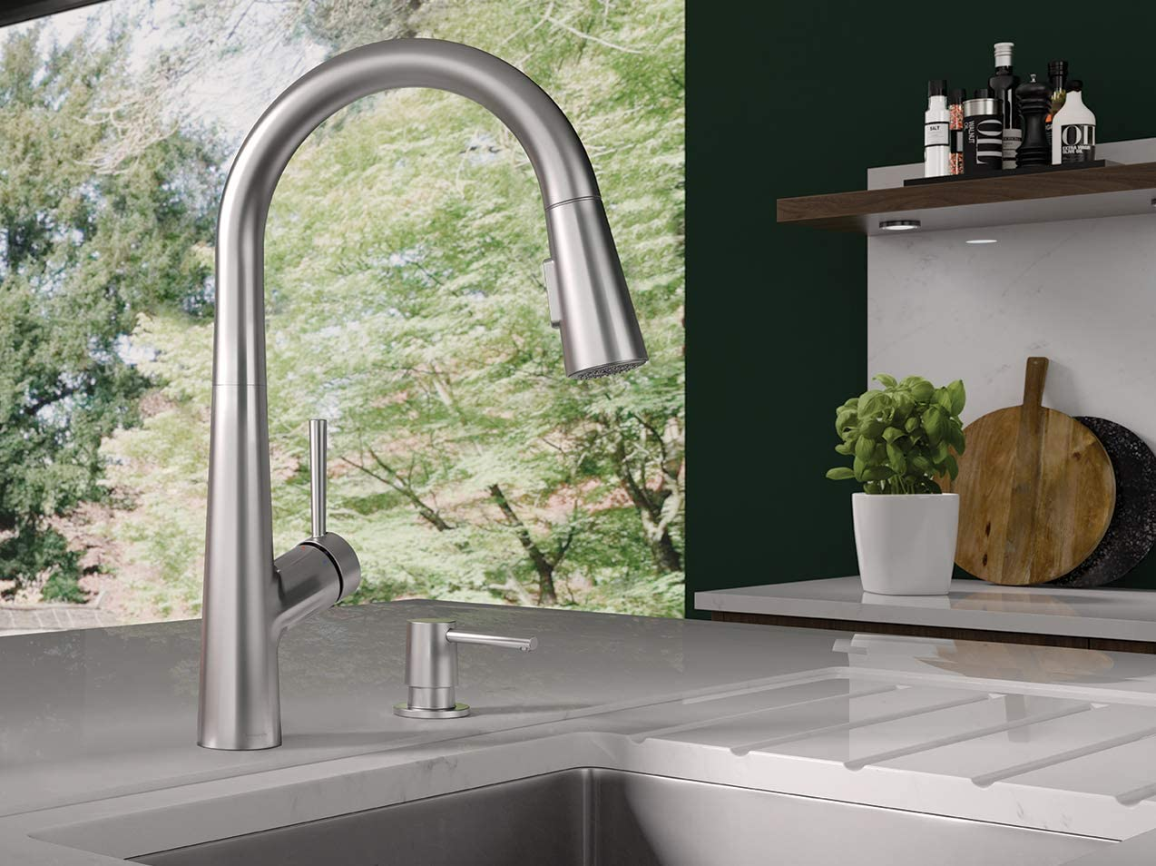 Hansgrohe 04749805 Lacuna 1 Handle 17 Inch Tall Pull Down Sprayer Kitchen Faucet Steel Optic
