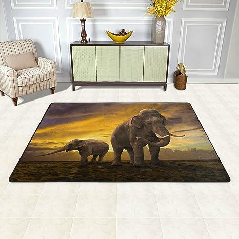 bennigiry hogar contemporáneo elefantes Familia de puesta de sol Dot zona Rugs 1 7