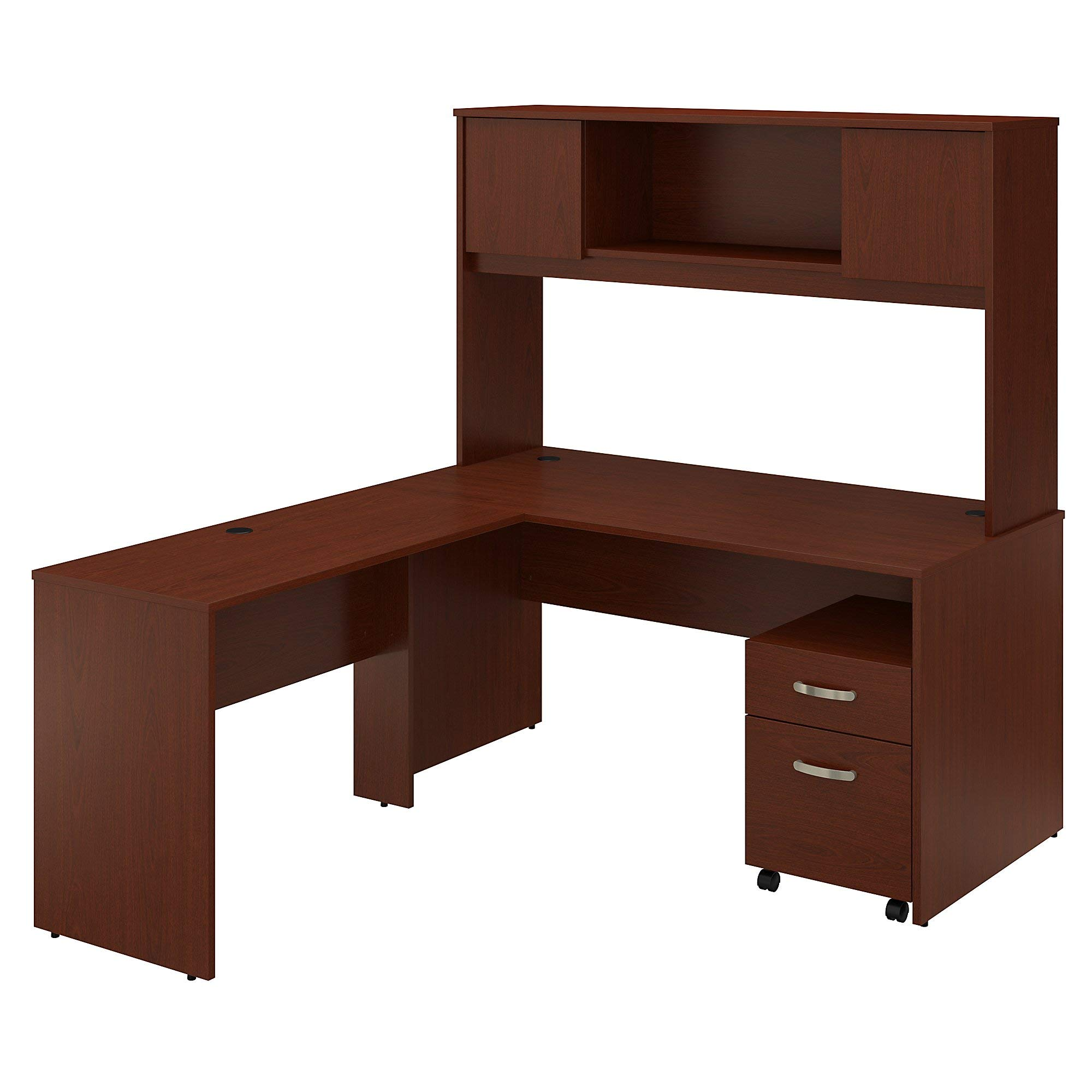 Bush Furniture Commerce 60W L Shaped Desk with Hutch and Mobile File Cabinet in Autumn Cherry by Bush Furniture