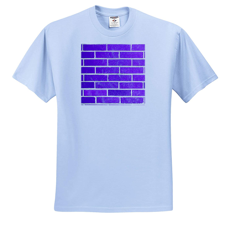 3dRose Lens Art by Florene Adult T-Shirt XL ts/_320786 Color Brick Walls Image of Bright Purple Brick Wall in Closeup