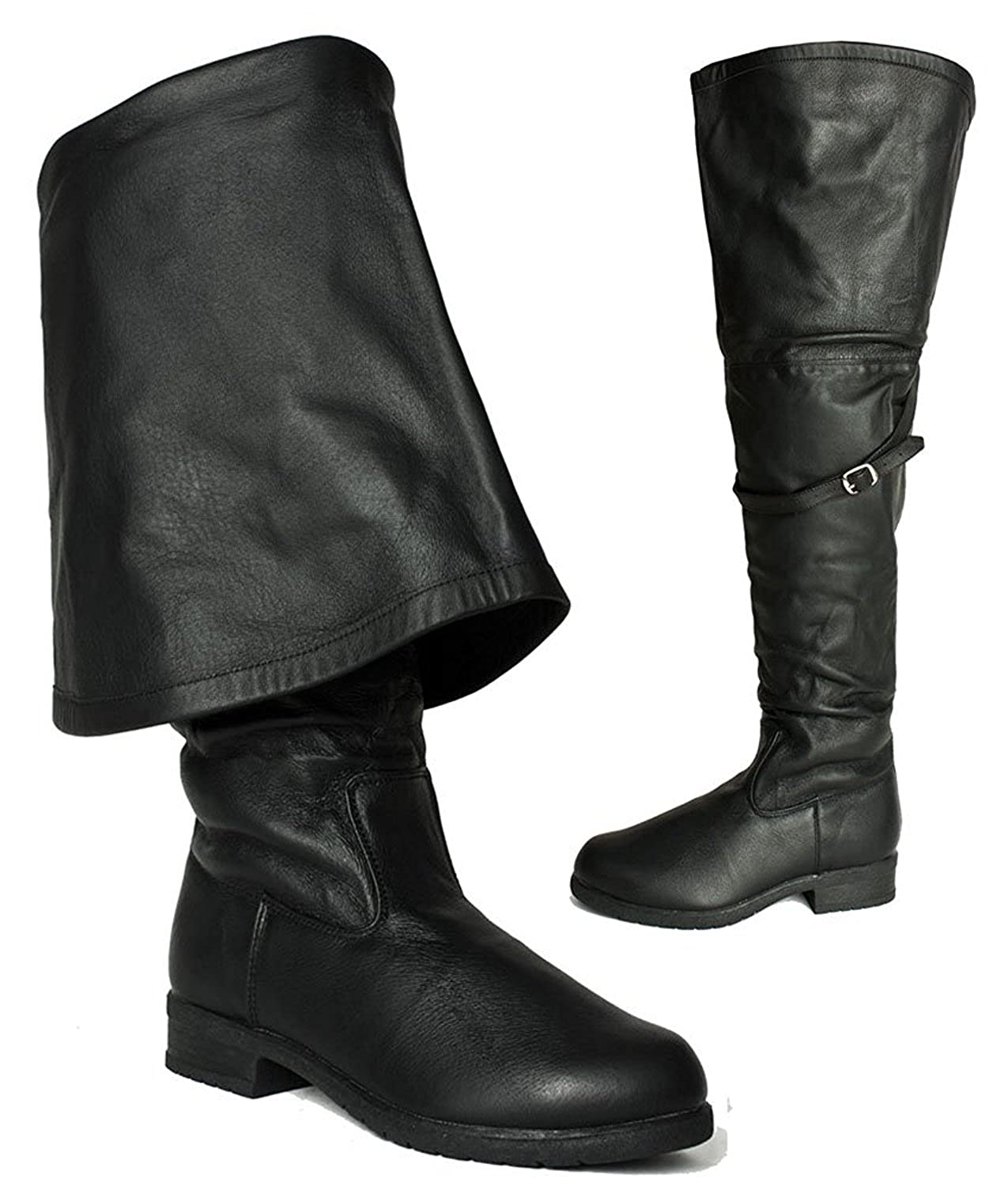 Deluxe Adult Costumes - Men's black Aassassin's Creed, Renaissance, Medieval, or pirate cosplay costume genuine leather boots.