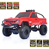 RGT RC Crawlers RTR 1/24 Scale 4wd Off Road Monster Truck Rock Crawler 4x4 Mini RC Car with Lights (Red)