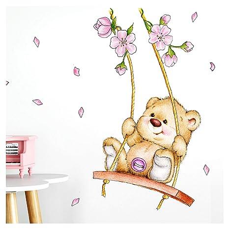 Little Deco Wandaufkleber Bär auf Schaukel I A4-21 x 29,7 cm I Wandbilder  Kinderzimmer Babyzimmer Deko Aufkleber Sticker Mädchenzimmer Wandsticker ...