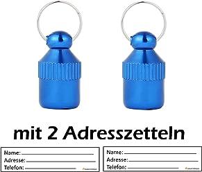 2 Stück ! (Doppelpack) Adressanhänger XXS Mini (2 CM Länge) In Verschiedenen Farben Für Kleine Hunde Und Katzen Mit Adressetiketten / Wasserdicht / Pillendose / Adresshülse Von Amathings