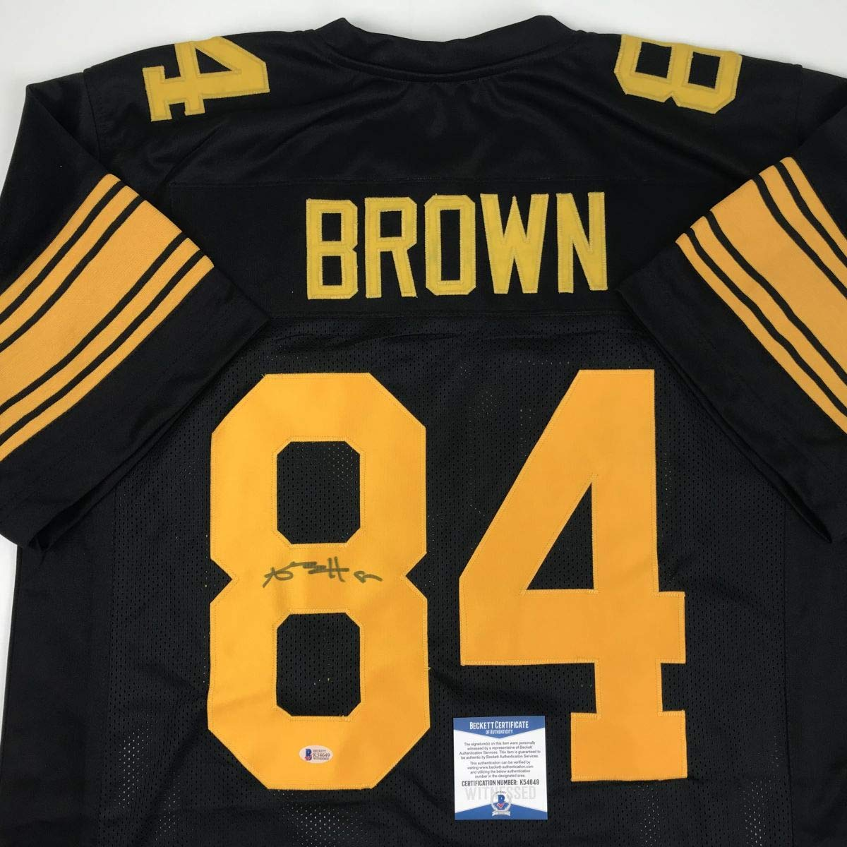 Autographed/Signed Antonio Brown Pittsburgh Color Rush Black Football Jersey Beckett BAS COA
