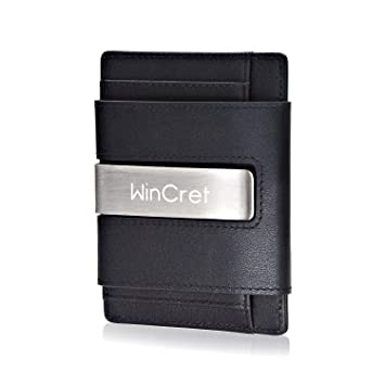 WinCret Cartera Minimalista Hombre con Clip - Pequeña Billetera de Piel con RFID Bloqueo para Tarjeta de crédito