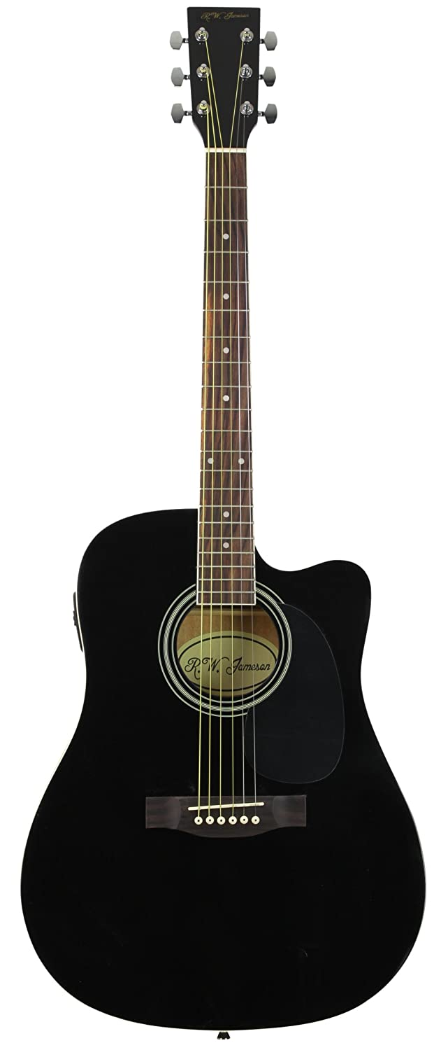 Amazon Full Size Thinline Black Acoustic Electric Guitar With Free Gig Bag Case Picks Musical Instruments