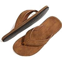 ARRIGO BELLO Chanclas Hombre Flip Flops Cuero Sandalias Verano Antideslizante Piscina Playa Interior Talla 41-46