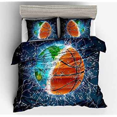 YEVEM 3D Basketball Earth Print Full/Queen Duvet Cover Set for Teens Adults Lightweight 3 Piece Bedding Set Gift for Boys with 2 Pillowcases (Full/Queen, Style D)