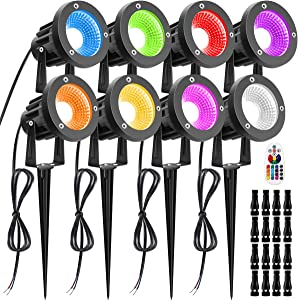 Landscape Lights LUYE 12W RGB Remote Control LED Landscape Lighting with Low Voltage Connector Pathway Lights IP66 Waterproof Color Changing Garden Yards Decorative Lights for Indoors Outdoors 8 Pack