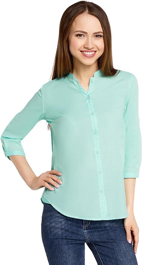 oodji Collection Mujer Blusa Básica de Algodón: Amazon.es: Ropa y ...
