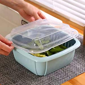 Tonsny Fruit Container - Large, Berry Box, Produce Container, Fruit Basket, Food Container, Refrigerator Organization, High-Capacity 2.5 QT (3-in-1) Green