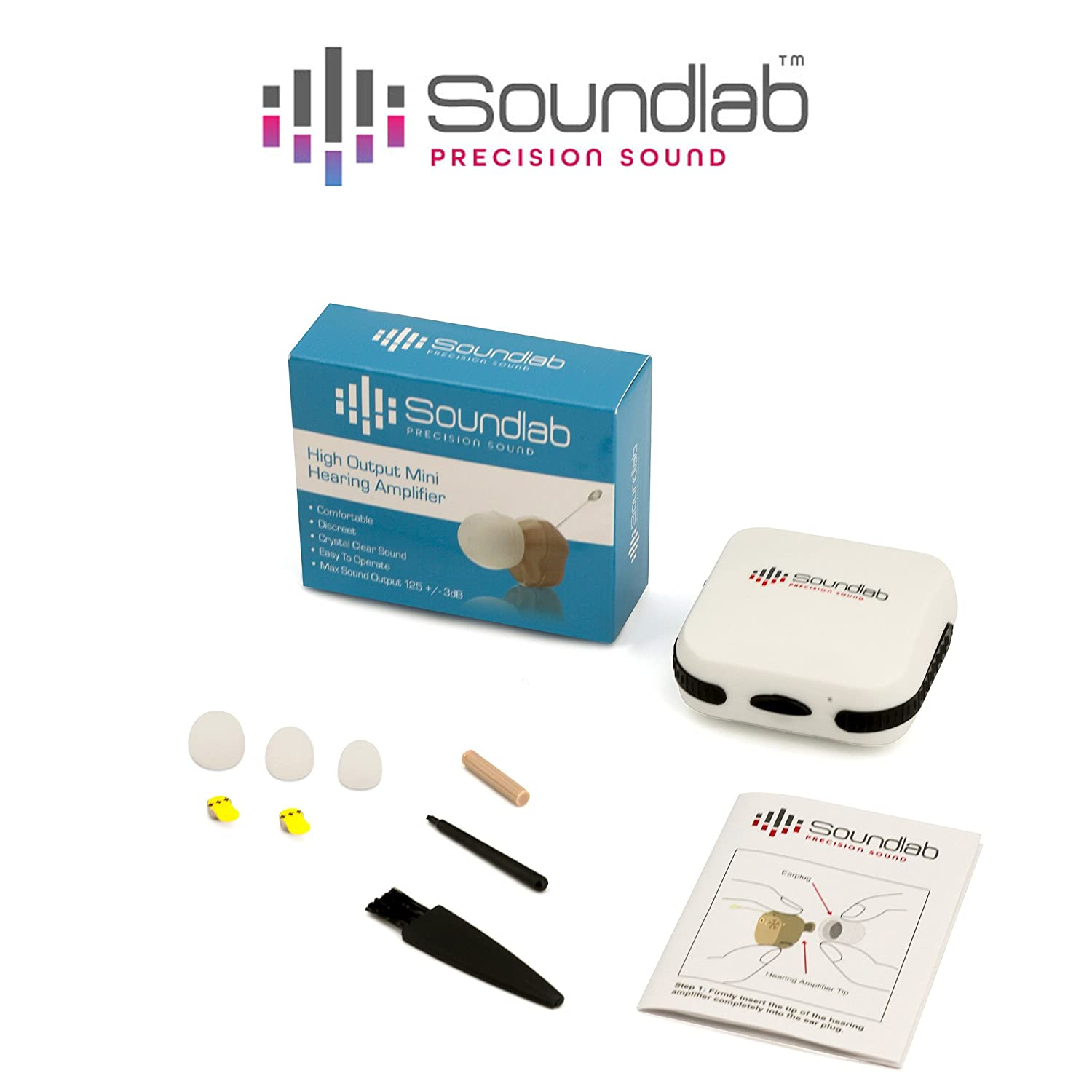 Soundlab Hearing Amplifier Dime Sized In The Canal Living Aids Amplifiers Accessories Itc Wireless With Soft Gel Tip And Aid Batteries Health Personal Care
