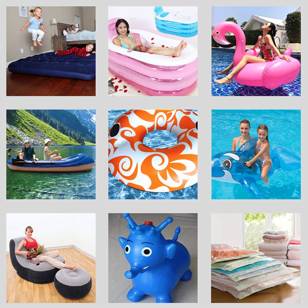 Swimming Ring OUZIFISH Electric Air Pump with 3 Nozzles Boats Vacuum Storage Bags Inflatable Cushions Car Inflation and Deflation Function for Outdoor Camping Air Mattress Beds