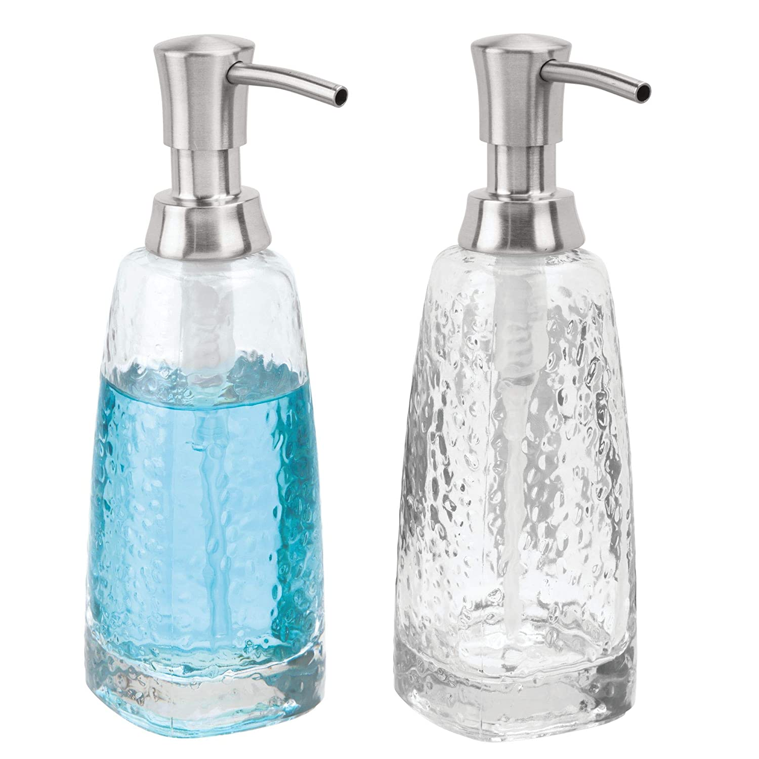 mDesign Decorative Glass, Tall Refillable Liquid Soap Dispenser Bottle with Rustproof Plastic Pump Head for Bathroom Vanity Countertops, Kitchen Sink, 2 Pack - Clear/Brushed MetroDecor