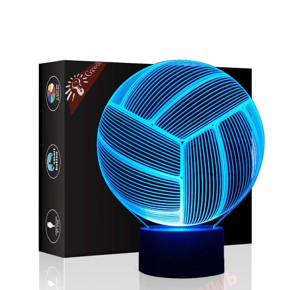 Volleyball 3D Illusion Birthday Gift Lamp, Gawell 7 Color Changing Touch Switch Table Desk Decoration Lamps Mother's Day Present with Acrylic Flat & ABS Base & USB Cable Toy for Sports Theme