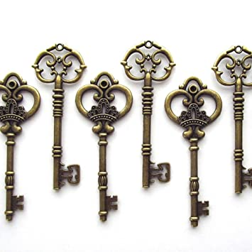 Makhry Mixed 20 Extra Large Antique Bronze Finish Skeleton Keys Rustic Key For Wedding Decoration Favor Bronze