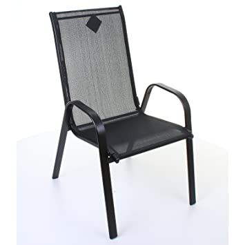 Marko Outdoor Stacking Textoline Chair Black Outdoor Bistro High Back  Seating Restaurant Cafe (1 Chair