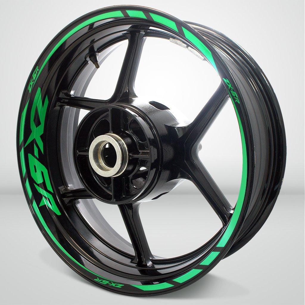 Kawasaki zx6rオートバイリムホイールデカールアクセサリーステッカー SDPKPWPKA046RG B0721YS9NM 反射グリーン 反射グリーン