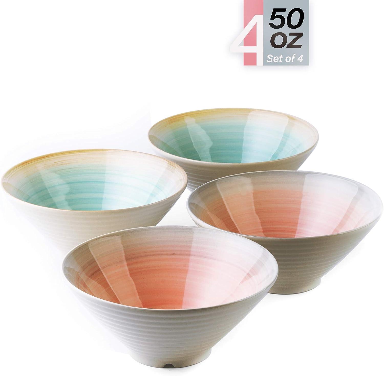 Porcelain Bowls – 50 Ounce Ceramic Large Bowl for Pasta, Cereal, Salad, Soup, Wide and Deep - Set of 4 in Blue or Pink, Microwave and Dishwasher Safe