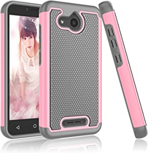 Alcatel Tetra Case, Alcatel Tetra 5041C Case, Njjex [Nveins] Impact Hybrid Dual Layers Hard Back + Soft Silicone Rubber Armor Defender Shockproof Slim Phone Cover for Alcatel Tetra 2018 [Baby Pink]