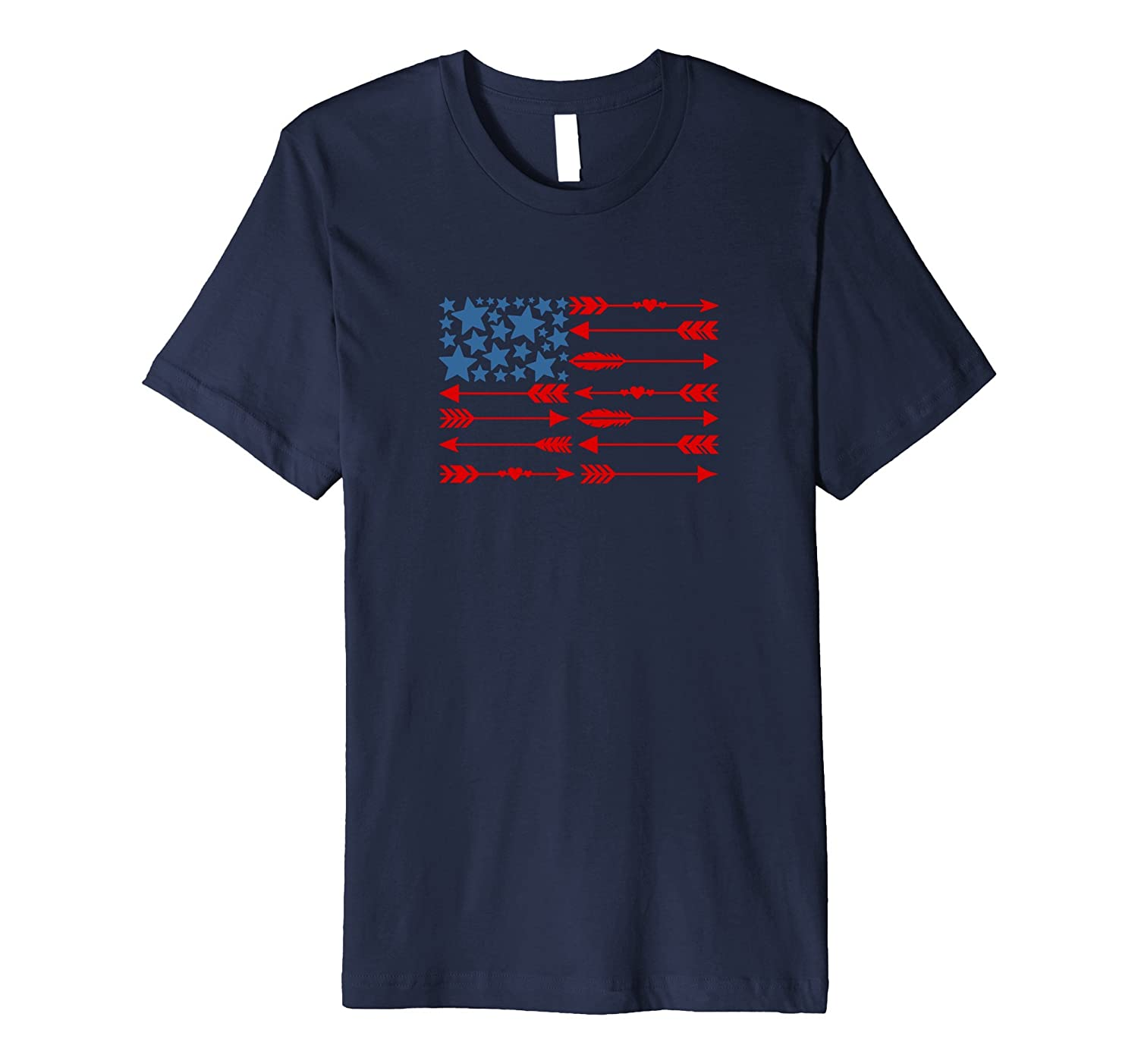4th of July Memorial Day Cute American Flag Arrows T-Shirt-TH
