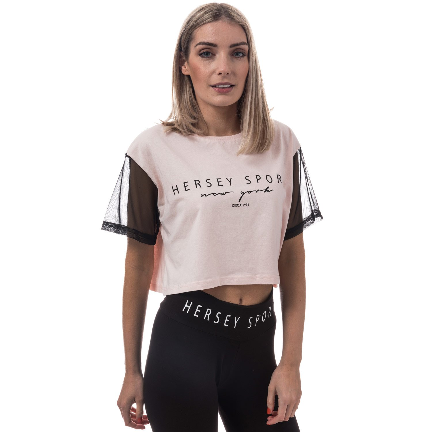 Womens Beck and Hersey Camp T-Shirt in Cloud Pink